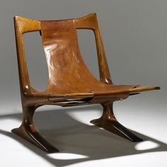 J. Muckey; Oak and Leather Armchair, 1970s.