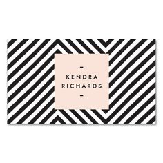 The optical black and white pattern on this card gives visual interest for your name or business name to stand out within the simple peach box with modern black text. Stylish and elegant. © 1201AM CREATIVE