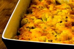 Recipe for Cauliflower Gratin with Sharp Cheddar and Parmesan [from Kalyn's Kitchen]