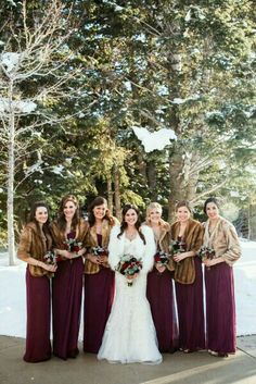 #winterwedding #wedding #style #weddingphotography #beautiful #bride #bridesmaids #marsala #snow #letitsnow #weddingideas #weddinginspiration #bridalparty #customdreamgowns