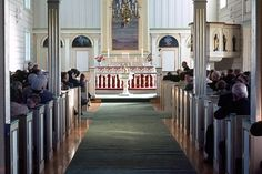 Interior of Korgen church, inaugurated in 1863, Norway
