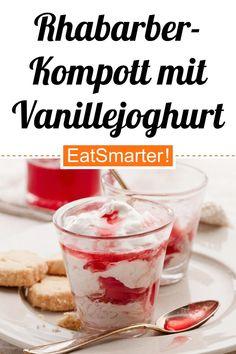 Clever naschen: Rhabarberkompott mit Vanillejoghurt - kalorienarm - schnelles Rezept - einfaches Gericht - So gesund ist das Rezept: 8,3/10   Eine Rezeptidee von EAT SMARTER   Clean Eating, Eiweißreich, Eiweißreiche Desserts, Wenig Zucker, Dessert mit wenig Zucker, Frühstück mit wenig Zucker, Europa, Britisch, Englisch, Ferienküche, Snacks, Dessert, Rhabarber-Joghurt, Rhabarber-Dessert, Creme, Rhabarbercreme, Leichte Desserts, Obstdessert #frühling #gesunderezepte