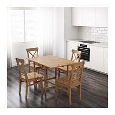 IKEA - INGATORP, Stół z opuszcz blatem, Stół z opuszczanym blatem dla 2-4 osób; możesz regulować długość stołu według potrzeb.Lita sosna; naturalny materiał, który pięknieje z wiekiem.Pokrytą bezbarwnym lakierem powierzchnię łatwo wytrzeć do czysta.