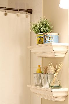 cute shelves! love the vintage cans with flowers.