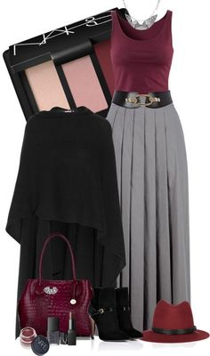 Burgundy and Grey skirt and top <3 NEED IT ASAP