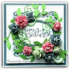 Floral birthday card, Sue Wilson dies, Stampin up Sassy Salutations