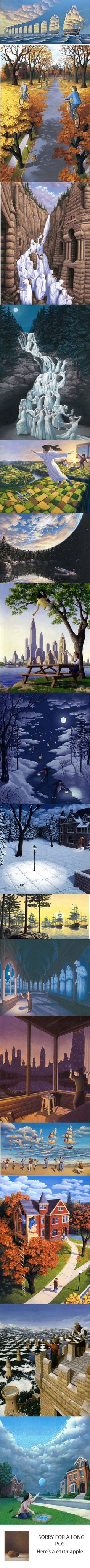 of Canadian artist's Rob Gonsalves artwork. Some of Canadian artist's Rob Gonsalves artwork. - of Canadian artist's Rob Gonsalves artwork. Illusion Art, Illusion Paintings, Illusion Pics, Illusion Drawings, Wow Art, Canadian Artists, Art Plastique, Optical Illusions, Funny Illusions