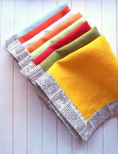 linen napkins with embroidery by sewtakeahike, via Flickr