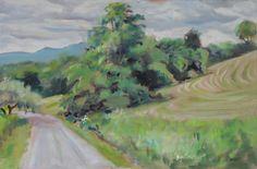 Hillside Mowing. Oil painting by Peter Barnett.