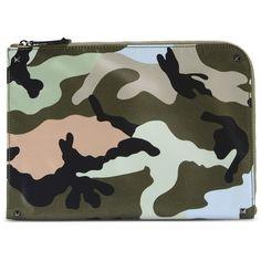 Valentino Garavani Large Fabric Bag ($840) ❤ liked on Polyvore featuring bags, handbags, military green, zipper bag, camo purse, camouflage handbags, man bag and camo handbags