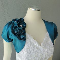 Wedding Bridal Teal Satin Bolero Shrug With Flowers and Rhinestones All Sizes Available Satin, Peacock Wedding, Bees Knees, On Your Wedding Day, Maid Of Honor, Spring Wedding, Fabric Flowers, Wedding Accessories, Rhinestones