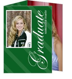 Elegant Green Brackets Graduation Announcement by PurpleTrail.com. #graduationannouncements #graduationideas