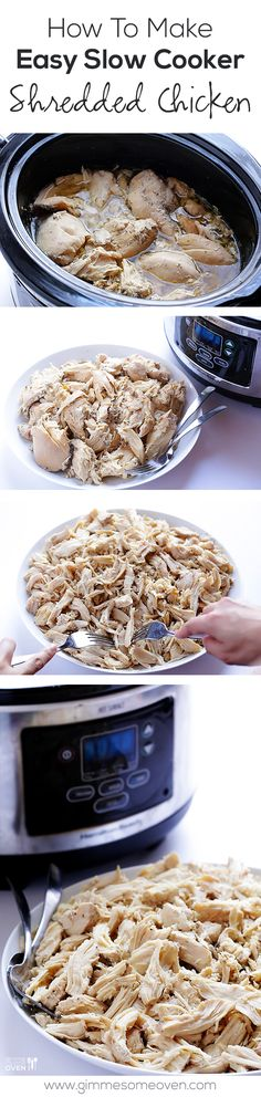 Easy Slow Cooker Shredded Chicken -- perfect for all sorts of meals, and you can also freeze it for leftovers! | gimmesomeoven.com #slowcooker #crockpot Crock Pot Slow Cooker, Crock Pot Cooking, Slow Cooker Recipes, Crockpot Recipes, Cooking Recipes, Simple Crockpot Chicken Recipes, Frozen Chicken In Crockpot, Crock Pots, Chicken Meals