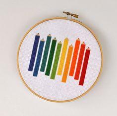 I just love this vibrant pencil crayon rainbow cross stitch. #rainbow #pencil #crayon #cross_stitch #stitchery #crafts