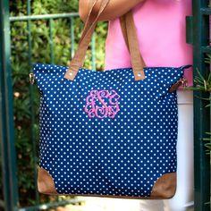 A personal favorite from my Etsy shop https://www.etsy.com/listing/588315947/navy-polka-dot-shoulder-bag-large-over