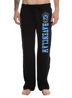 Comfy men's pajama pants with Ravenclaw design on the left leg, elastic drawstring waist and single button fly.