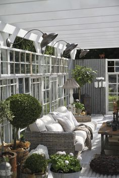 Cottage Porch with French doors, Houston international round pot planter, Original barn light gooseneck light, Screened porch Garden Room, Cottage Porch, Outdoor Space, Outside Living, Outdoor Rooms, Terrace Design, Decks And Porches, Garden Inspiration, Exterior