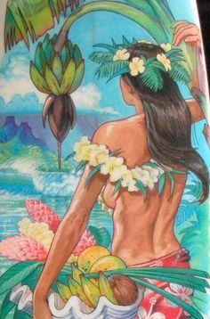 Surf Art Board 5'10 - Paint Pen Painting detail by Phil Roberts Hawaii Vintage, Polynesian Art, Tiki Art, Hawaiian Art, Hula Girl, Tropical Art, Surf Art, Paint Pens, Vintage Travel Posters