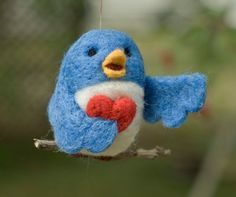 Needle Felted Bird Ornament  Singing with Heart by scratchcraft, $22.00