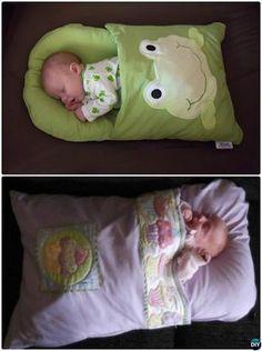 DIY Baby Pillowcase Sleeping Bag Nap Mat Sew Pattern-Handmade Baby Shower Gift Ideas Instructions
