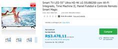 Smart TV LED 55 Ultra HD 4K LG 55UB8200 Wi-Fi Integrado Time Machine II Painel Futebol Controle Remoto Smart Magic << R$ 342811 em 10 vezes >>