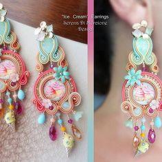 Pink Necklace, Pink Earrings, Bridal Earrings, Shibori, Soutache Earrings, Pink Jewelry, Handmade Accessories, Beaded Embroidery, Fashion Earrings