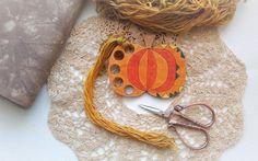 Hand painted wooden thread keeper orange PUMPKIN thread holder by xJudesign on Etsy