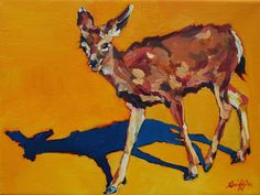 "Colorful Contemporary Wildlife Deer Painting ""Doe at Grand Canyon""© Contemporary Animal Artist Patricia A. Griffin-Available"