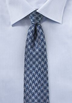 Skinny Tie with Houndstooth Design in Blue - $10