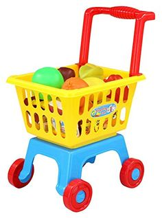 """Remeehi 18.5"""" Mini Shopping Cart with Full Grocery Food Toy Playset for Kids * Details can be found by clicking on the image."""