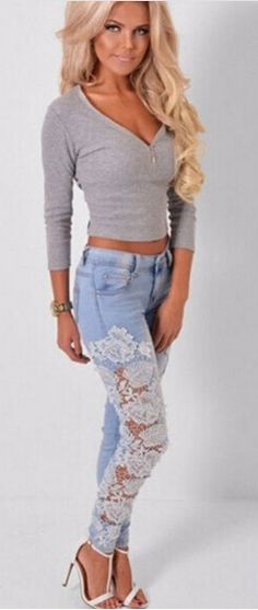 Blue Patchwork Lace Crochet Hollow-out Skinny Fashion Sexy Long Pencil Jean Pants Lace Jeans, Pink Jeans, Denim And Lace, Jeans Pants, Cut Out Jeans, American Apparel Jeans, Plus Size Skinny Jeans, Skinny Fashion, Patterned Jeans