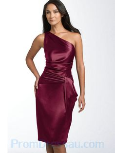 One Shoulder Simple Design Ruched Burgundy Bridesmaid Dress.jpg (600×800)