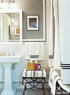 In Chloë Sevigny's Manhattan apartment, the bathroom is crisply done in black and white.