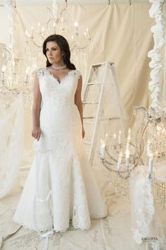 Vintage inspired fit and flare with antique style lace. Full covered cape sleeve with a corset bodice and lace train.