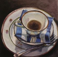 Tea Cup After the luncheon, painting by artist Andy Smith