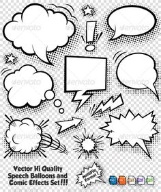 Buy Comic Bubbles and Elements by Fourleaflover on GraphicRiver. Set of Vector Speech Bubbles and various comic graphic elements with Halftone shadows. This Graphic set includes 5 di. Bubble Drawing, Comic Bubble, Illustrator Cs5, Thought Bubbles, Free Art Prints, Graffiti Lettering, Character Drawing, Doodle Art, Comic Strips