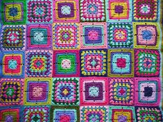 Granny squares crochet afghan by Ruthiejoy, via Flickr