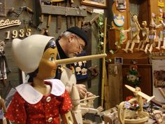 Bartolucci in Roma, Italy..  They make real Pinocchio's ~ . http://www.bartolucci.com/EN/Home.html