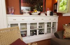 Built-in china cabinet in renovated Mission-style home Mission Style Homes, China Cabinet, Cabinets, Dining Room, House Design, Journal, Storage, Building, Furniture