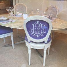 Leontine Linens showroom monogram chair