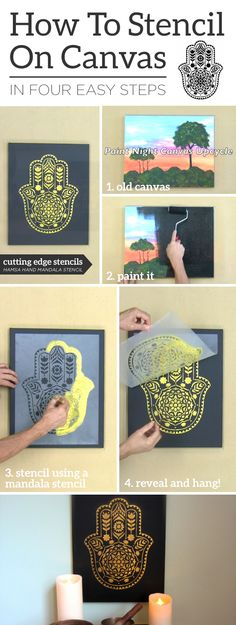 Cutting Edge Stencils shares how to stencil an old canvas painting using the Hamsa Hand Mandala Stencil pattern. Mandala Stencils, Stencil Patterns, Stencil Painting, Stencil Designs, Damask Stencil, Stenciling, Painting Canvas, Bird Stencil, Faux Painting