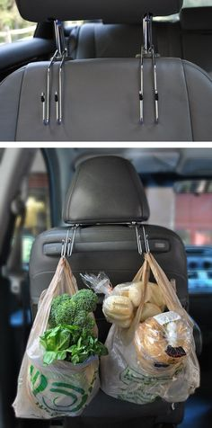 Car Grocery Bag Hooks.....create more storage room for your groceries and keep the fragile items off the floor.