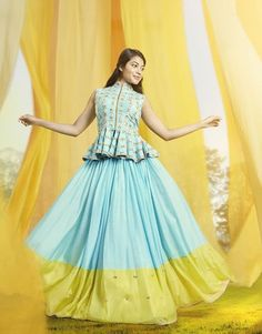 Lehenga with Peplum Top - AwesomeLifestyleFashion Source by Half Saree Lehenga, Lehnga Dress, Lehenga Blouse, Indian Lehenga, Lehenga Gown, Anarkali, Peplum Blouse, Lehenga With Long Choli, Peplum Top Outfits