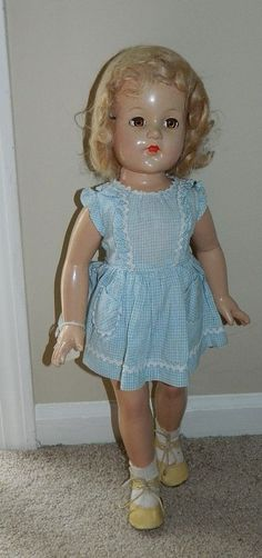 "LARGE 21"" Antique 1940's Composition EFFANBEE ANNE SHIRLEY Doll w Vintage Dress"
