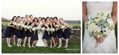 navy blue bridesmaid dresses  winery wedding in the fall  florals by Hana Floral Design  Photo by Anna Sawin Photography