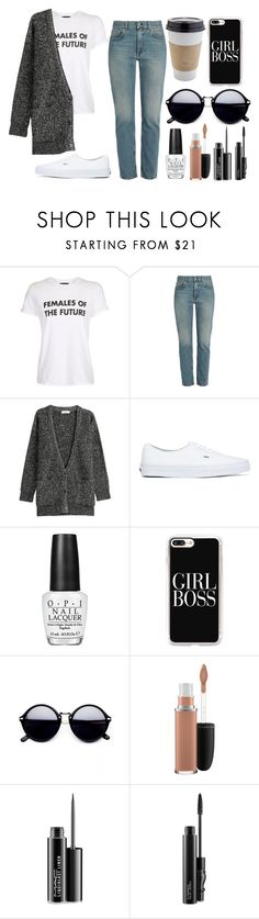 """""""mom jeans// contest"""" by buesosanchez ❤ liked on Polyvore featuring OUTRAGE, Topshop, Acne Studios, Closed, Vans, OPI, Casetify and MAC Cosmetics"""