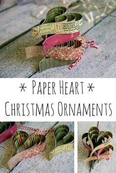 Simple and effective paper heart Christmas ornament with step by step tutorial.