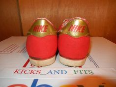 Vintage 1985 Nike Metallic Gold & Red Flame Tech Track Spikes Rare 10 Running og #Nike #AthleticSneakers