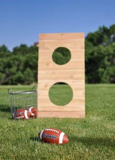Easy to make outdoor football toss game. Hosting an outdoor gathering? Want to make your yard the summer attraction for the neighborhood? These DIY Backyard Games are the perfect outdoor ideas for kids and adults, day or night! #FrugalCouponLiving #outdoor #backyard #diygames #games #yardgames #backyardgames #yardideas #backyardideas #gamesforkids #summer #summerideas #summergames #gamesforadults #football #gamesforfamiiles #familygames #footballgame