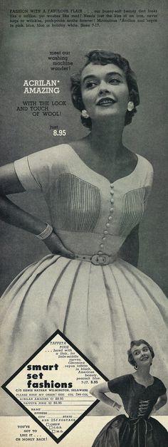 "1953 Dresses Ad, Smart Set Fashions, ""Fashion with a Fabulous Flair"" Vintage 1950s magazine advertisement, Smart Set Fashions, 1953 Vintage Fashion 1950s, Vintage 1950s Dresses, Vestidos Vintage, Mode Vintage, Retro Fashion, Trendy Fashion, Vintage Clothing, Women's Clothing, Retro Outfits"